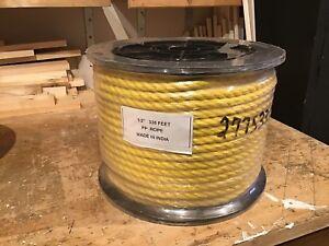 "3 reels of 3 strand yellow polypropylene rope 1/4"", 1/2"",  7/8"""