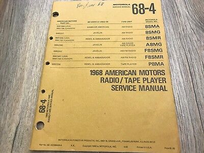1968 AMC AMX JAVELIN REBEL AM/FM A 8 TRACK PLAYER  AUTO RADIO SERVICE MANUAL