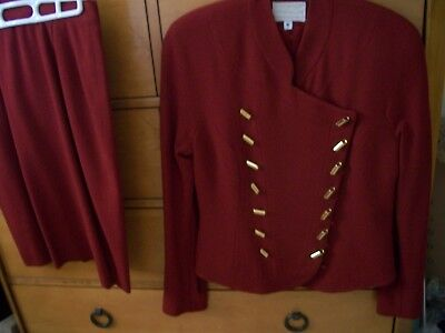 (Womens Alberto Makali wool suit Size 6 Off red VGC zipper button back skirt)