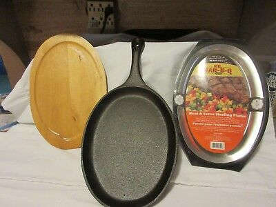 Sizzling Cast Iron Steak Platter, Wooden Base & Heat & Serve Sizzling Platter