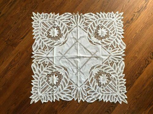 Handmade Vintage Battenburg Lace Linen Tablecloth~Unusual & Lovely~White