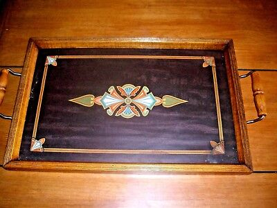 ANTIQUE 1900's GLASS TOP WOODEN BEVELED SERVING TRAY w/HANDLES - LEATHER BACKED