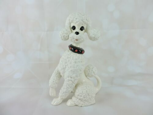"Vintage White Poodle Figurine 10.25"" Ceramic Statue 1978 Hand Painted Black Red"