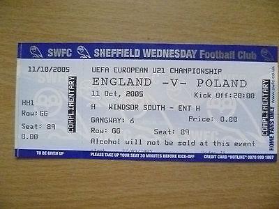 Ticket- 2005 UEFA European U21 Championship - ENGLAND v POLAND, 11 Oct