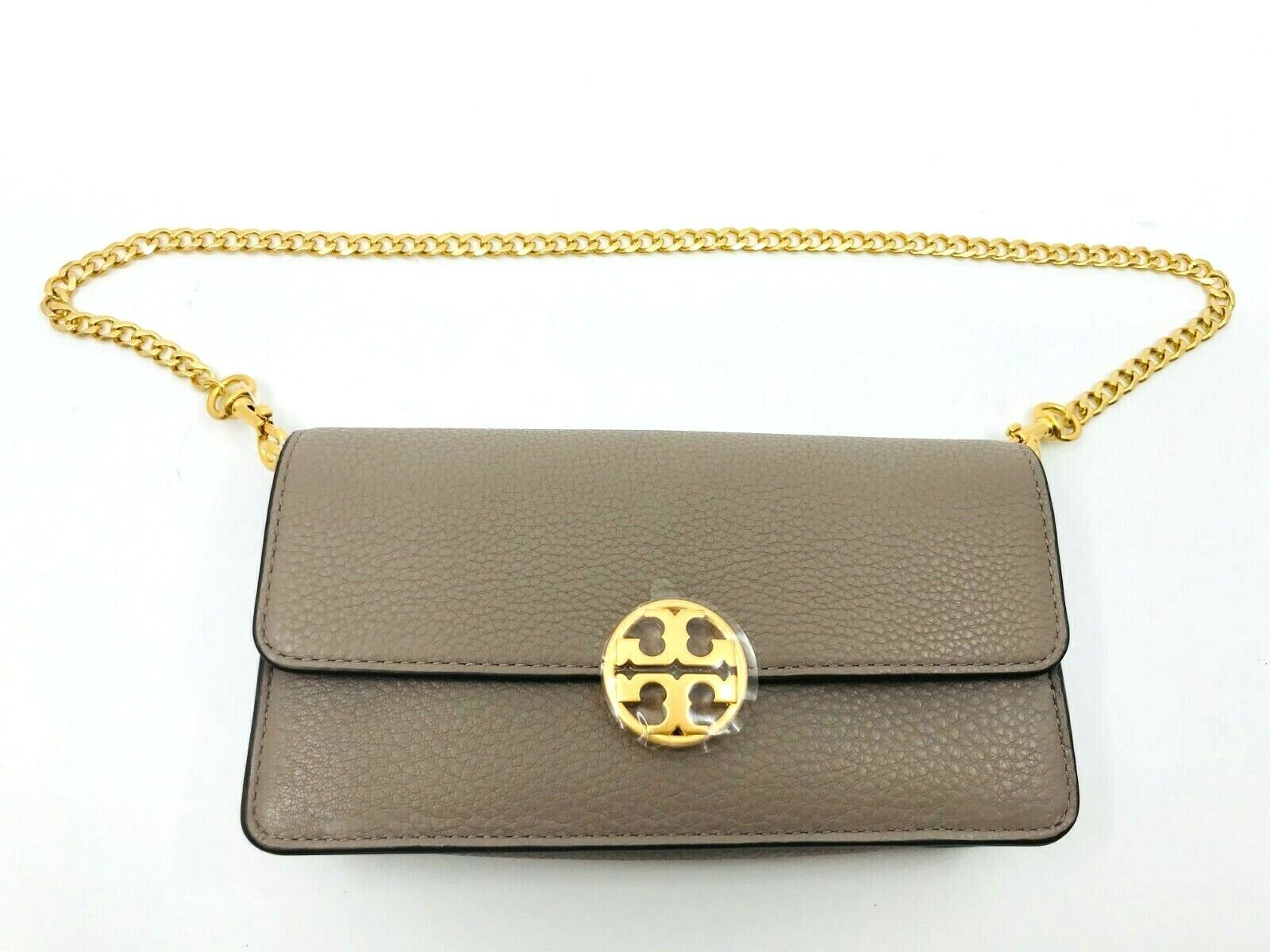 Tory Burch NEW Gray Chelsea Chain Pouch Pebbled Leather Mini Crossbody Bag 228