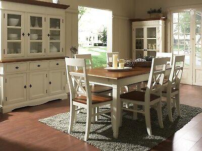 Esstisch 140x90 mit 6 Stühlen cremeweiß massiv Holz Möbel Tischgruppe CANNES