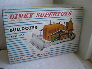 BLAW-KNOX BULL DOZER IN ORIGINAL BOX BY DINKY SUPER TOYS - RARE FRENCH VERSION