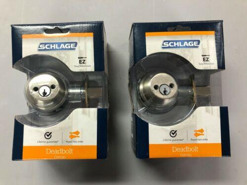 2 PK  B62N V 619 Schlage Deadbolt Satin Nickel Double-Cylinder Deadbolt B62NV619