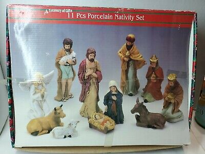 Hand Painted Porcelain 11 Piece Nativity Set, Complete Treasury Of Gifts (B#177)