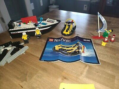 2 Vintage LEGO sets Police Boat 4012, Technic 8246 w/ Minifigs & Instructions