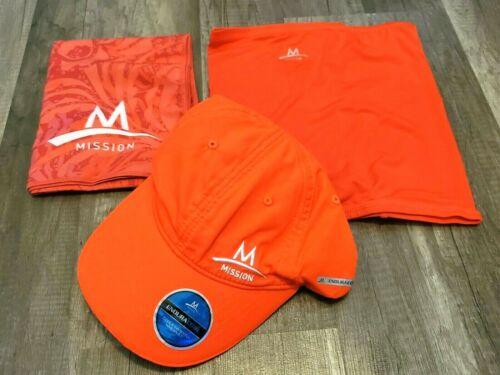 "MISSION ENDURACOOL 3 pc NEON CORAL/ORANGE CAP/HAT+TOWEL+10"" GAITER NEW (m2"