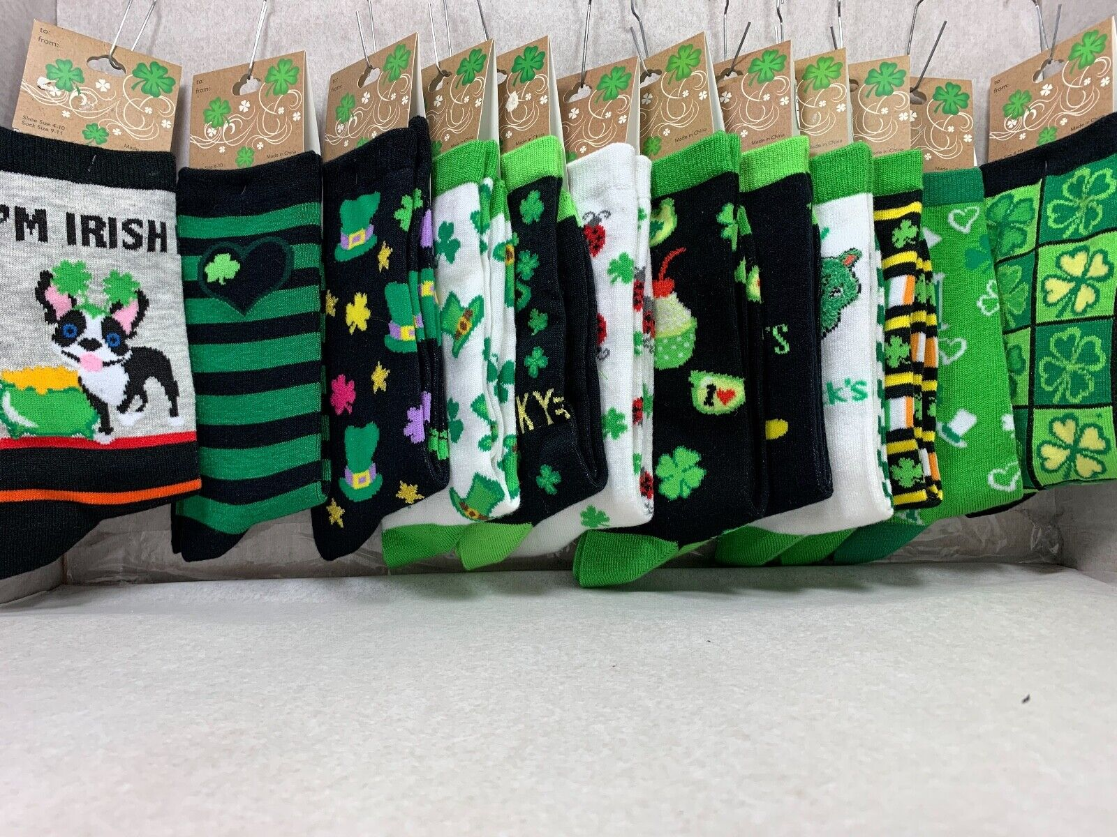 ST. PATRICK DAY 14 PATTERNS WOMEN CREW SOCKS SIZE 9-11 BOYS 5-9 BY K.BELL Clothing, Shoes & Accessories