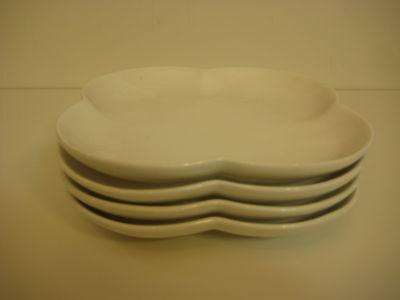 Set of 4 Crate & Barrel 4 Leaf Clover Shape White Plates, 6 1/4