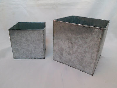 Set of 2 square, box galvanised metal planters, 8inches³ and 6inches³ new
