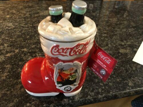 COCA COLA COKE Santa Boot CHRISTMAS STOCKING 75TH Annv. COOKIE JAR - UNOPENED