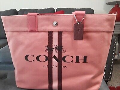 NWT COACH AUTHENTIC CANVAS BRIGHT CORAL AND STRIPES LARGE TOTE