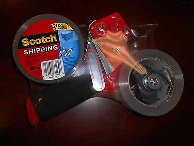 3m Scotch Heavy Duty Shipping Packing Tape Gun Pistol Dispenser Packaging 2roll