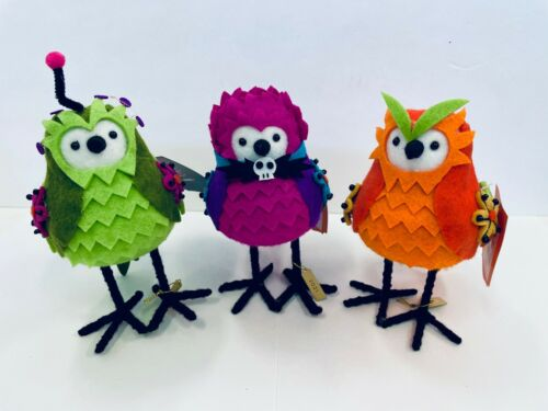 3 Target Halloween Ghoulish Garden Fabric Birds Featherly Friends  Decor NWT