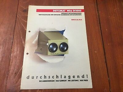 Wild Heerbrugg Distomat Di1000 Original Detailed Brochure Surveyor