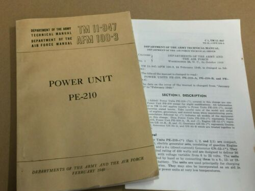 Power Unit PE-210 TM 11-947 dated dated February 1949