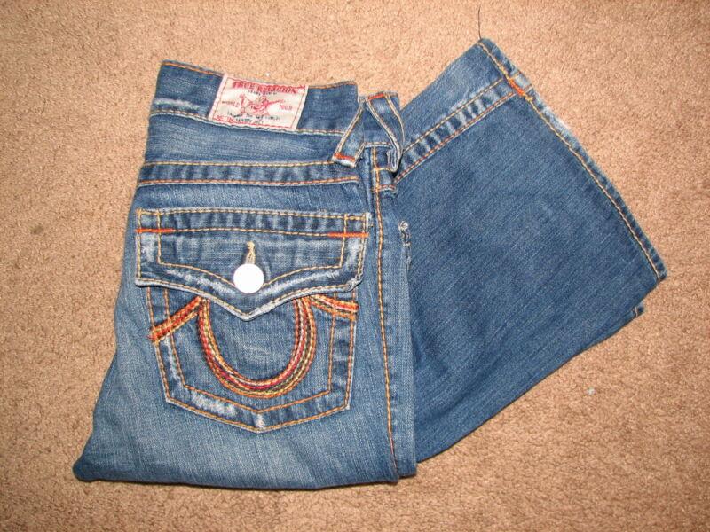Kids True Religion Rainbow Joey Flare jeans size 12 EUC~Super Cool~