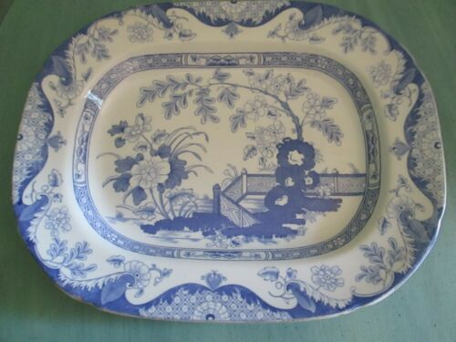 "Antique John Ridgway Imari Imperial Stone ""Anglesey"" Blue & White Platter"