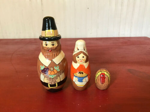 Thanksgiving Pilgrim Turkey Holiday Nesting Dolls