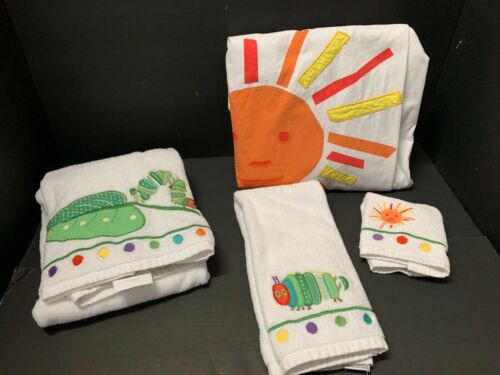 4pc Pottery Barn Kids Eric Carl CaterPillar SHOWER CURTAIN + Towel Bath Bathroom