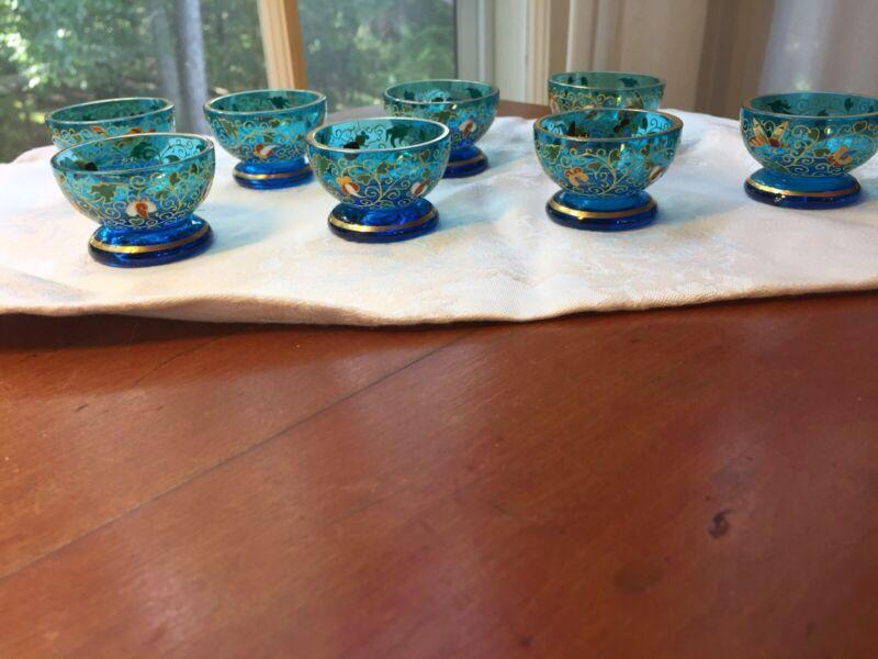 8 Rare Antique Moser Bohemian Art Glass Footed Blue Salts w Gold & Floral Enamel