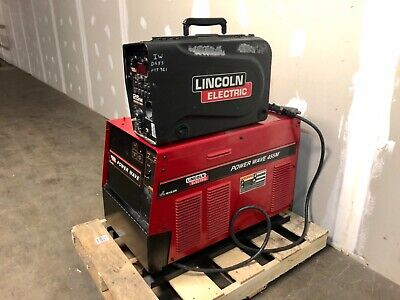 Lincoln Power Wave 455m Welder With Lincoln 25m Suitcase Wire Feederships Free