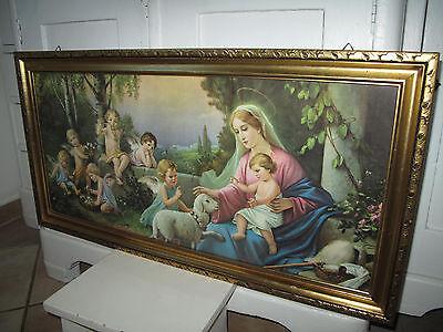 Antik Giovanni Heiligenbild Schlafzimmerbild Maria Jesus Schutzengel Shabby