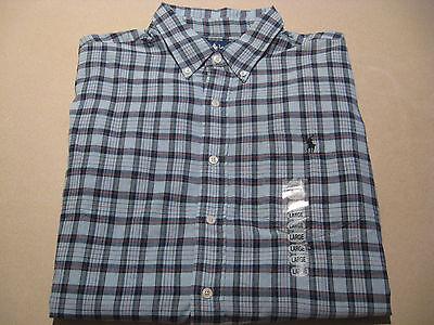 $65 MSRP Men's Large Ralph Lauren Polo Button Down Dress Shirt short sleeve NEW