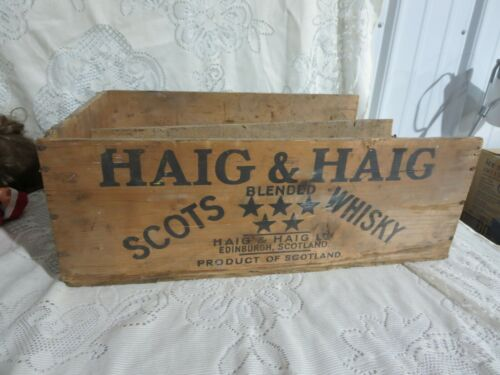 Vintage Haig & Haig Scots Blended Whisky Scotland Wood Crate