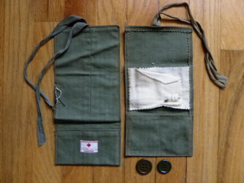 2 Vtg American Red Cross Cloth Pouches-Tucson, Arizona + Buttons-Sewing Kits?