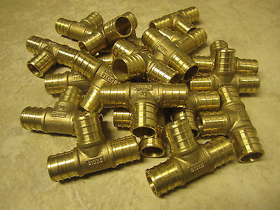 25 Pieces - 34 Tee Pex  - Brass Pex Pipe Fitting