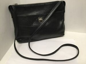 Cross Body Shoulder Bag Handbag Black Leather Zip Closure Monet H54