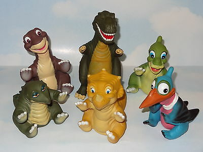 1988 COMPLETE  Set 6 Land Before Time Plastic/Vinyl Hand Puppets *Pizza Hut*