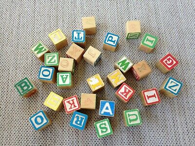 "Lot of 30 Vintage ABC Wood BLOCKS 1 1/4"" Alphabet mixed designs"