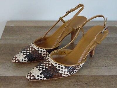 Salvatore Ferragamo gorgeous High Heels new Size 7.5 2a strap heal weave toe