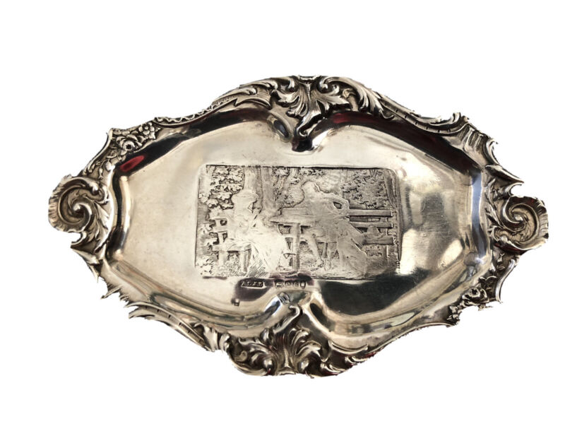 Antique A&J Zimmerman London Import Marks Sterling Silver Jewelry/Ring Tray 1900