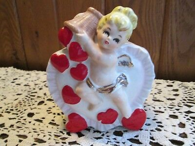 Vintage Relpo Valentine Cupid Planter Vase angel girl basket of red hearts gift