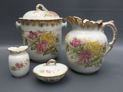 Antique royal vitreous porcelain John Maddock & Sons chamber - bath set 1870