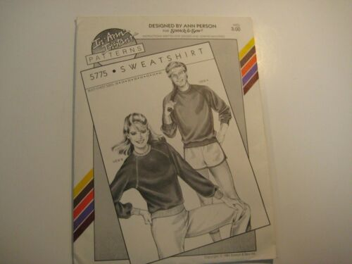 5775 Sweatshirt Ann Person In-An-Instant Sewing Pattern M/F Bust Chest Sz 32-46