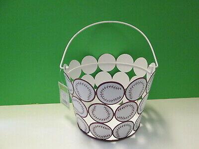 Toy Baseball Bucket, Metal, Brown and White, NWT Baseball Gift Baskets