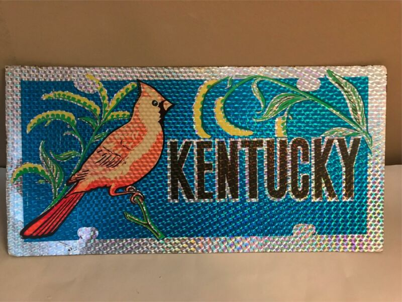 Vtg 1980s Kentucky Cardinal Reflective Prism Metal License Plate Car Tag unused