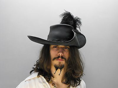Pirate Hat With Feather (musketeer black leather hat pirate feather costume cosplay reenactment)