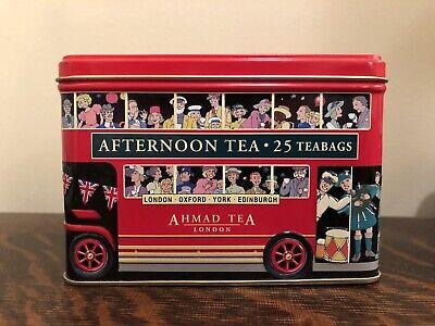 Ahmad Tea London Bus Caddy Tin Bank, English Afternoon, 25 Count Tin Is Empty