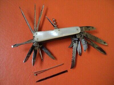 amazing antique f. herder solingen pocket knife multiblade 20 tools mop XIXc