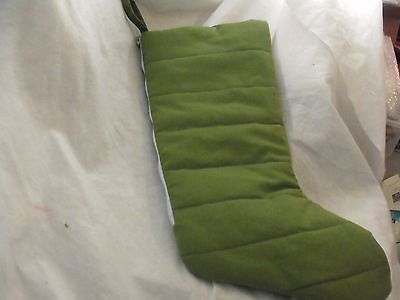"Christmas Stocking, Reversible with Zipper, Green Plaid or Solid Green, 20"" NWOT"