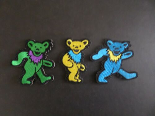 """LOT OF 3-DANCING BEARS GRATEFUL DEAD"""" EMBROIDERED IRON ON PATCHES #2"""
